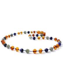 Amber Amber Kids Necklace with Gemstones 36 cm -  Labradorite/Lapis Lazuli/Cognac