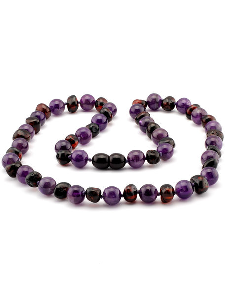 Amber Amber Ladies Necklace with Gemstones 45 cm - Amethist/Cherry