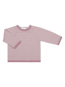 Selana Organic Cardigan With Pattern - pink