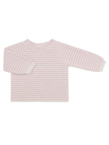 Selana Wrap cardigan of wool pink with ecru striped