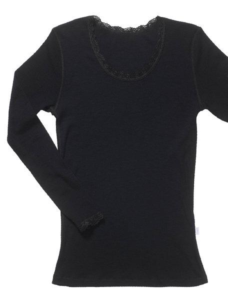 Joha Blouse Cecilie merino wool - Black