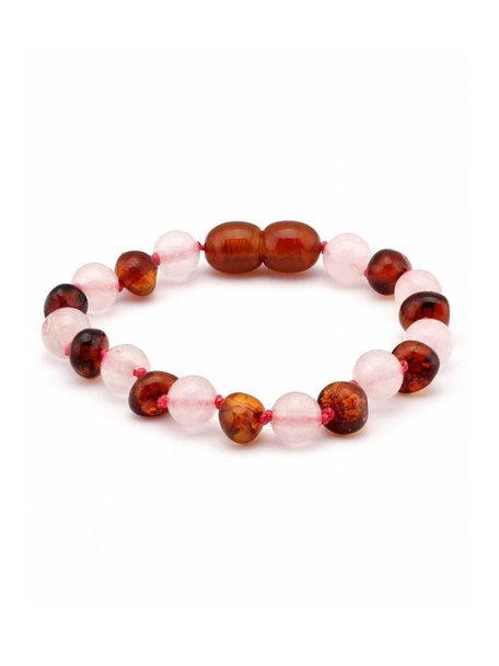 Amber Amber Baby Bracelet with Gemstones 12 cm - Rose Quartz