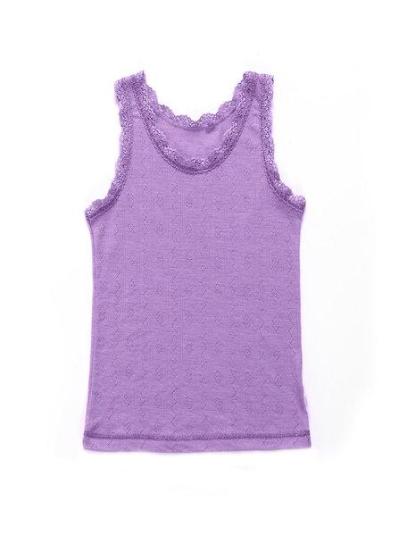 Joha Wool/silk girls undershirt ajour - Lilac