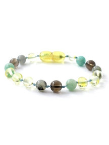Amber Amber Kids Bracelet with Gemstones 16 cm - Labradorite/Quartz/Amazonite
