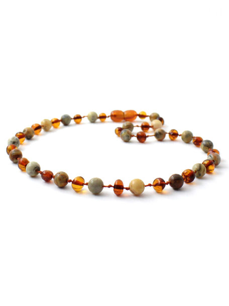 Amber Amber Ladies Necklace with Gemstones 45 cm - Agate/Cognac
