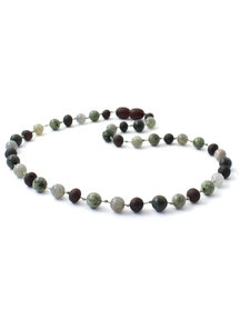 Amber Amber Baby Necklace with Gemstones 32 cm - Labradorite/Green Lace Stone