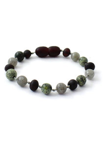 Amber Amber Baby Bracelet with Gemstones 14 cm - Labradorite/Green Lace Stone