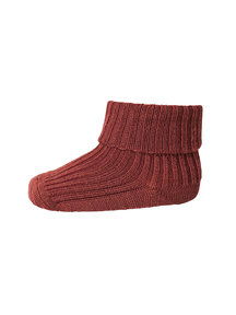 MP Denmark Wool Rib Turn Down Socks - Dark Brick
