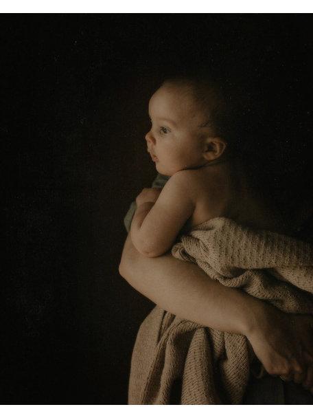 Hvid Merino Wool Baby Blanket Dora - Sand