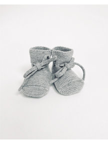 Hvid Fine Knitted Merino Booties - Grey Melange
