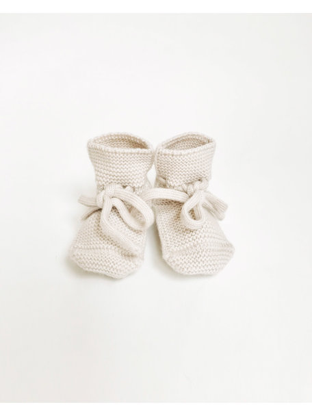 Hvid Fine Knitted Merino Booties - Off White