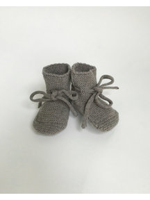 Hvid Fine Knitted Merino Booties - Otter