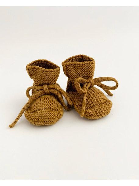 Hvid Fine Knitted Merino Booties - Mustard