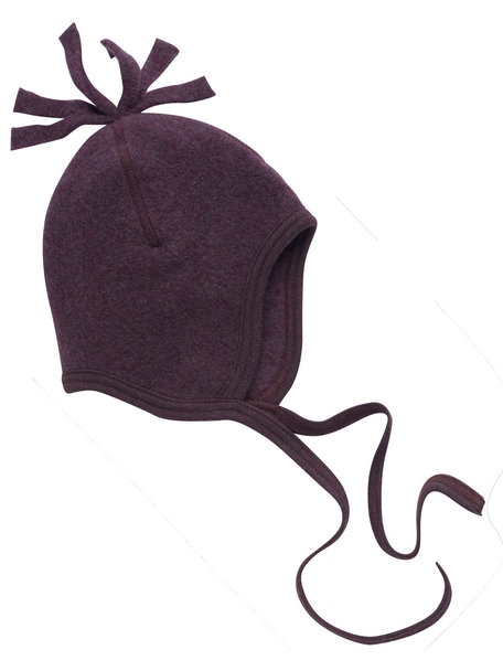 Engel Natur Wool Fleece Baby Hat with frills - Lilac