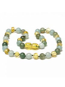 Amber Amber Kids Necklace with Gemstones 38 cm - Amazonite/Aventurine