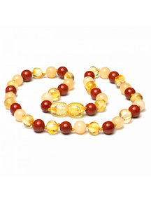 Amber Amber Baby Necklace with Gemstones 32 cm - Jade/Red Jasper
