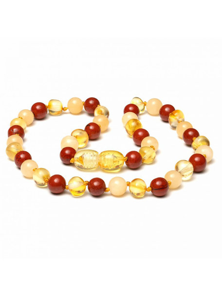 Amber Amber Kids Necklace with Gemstones 38 cm - Jade/Red Jasper