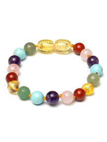 Amber Amber Baby Bracelet with Gemstones 14 cm - Gemstones Rainbow