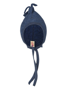 Engel Natur Wool Fleece Baby Hat with frills  - Blue