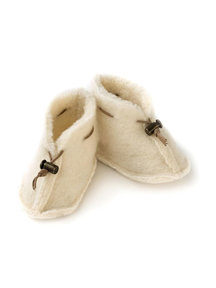Alwero Wool plush booties - natural