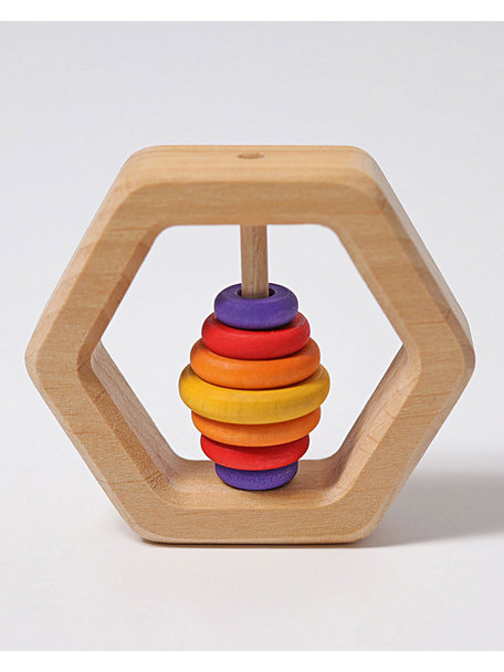 Grimm's Coloured Wooden Baby Rattle