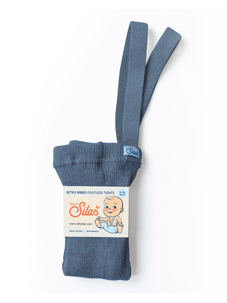 Silly Silas Footless tights with braces - steel blue