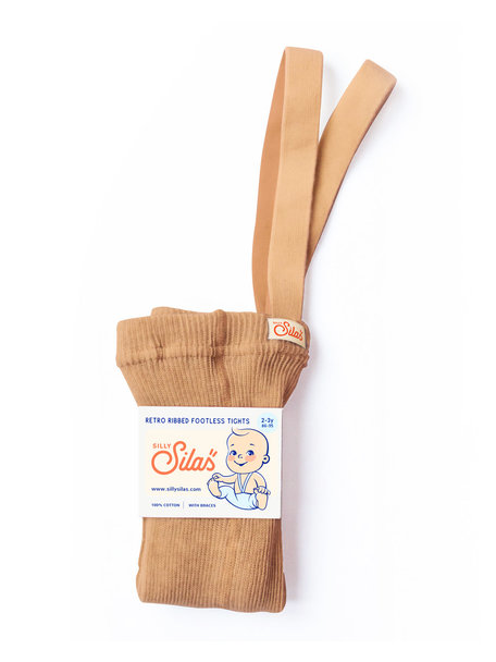 Silly Silas Footless tights with braces - light brown