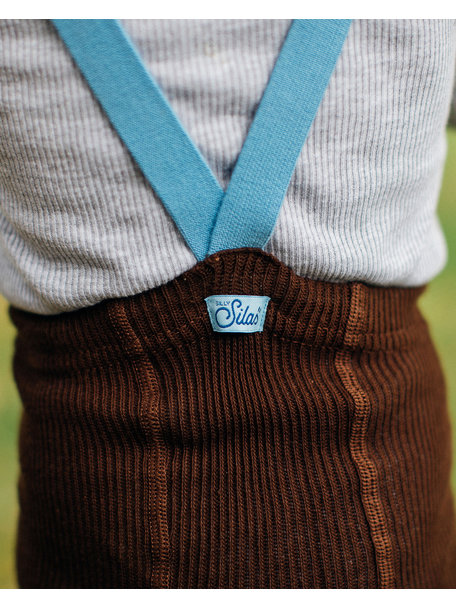 Silly Silas Retro tights with braces - brown/light blue