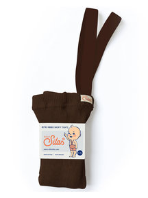 Silly Silas Retro Ribbed Shorty Tights - Chocolate Brown