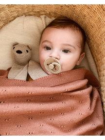 Hvid Merino Wool baby Blanket Bibi - brick