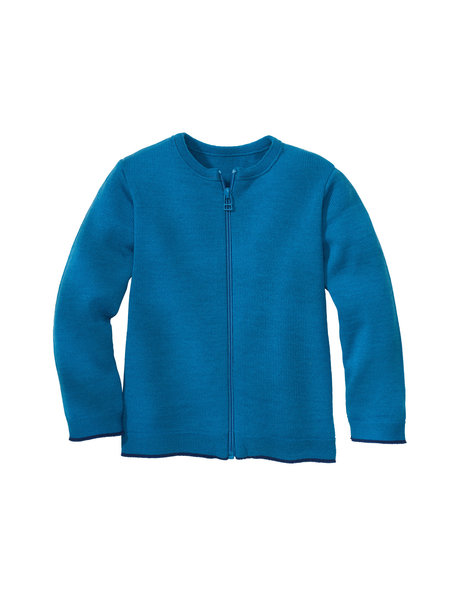 Disana Merino wool cardigan - blue/dark blue