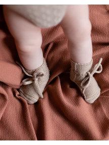 Hvid Fine Knitted Merino Booties - Sand