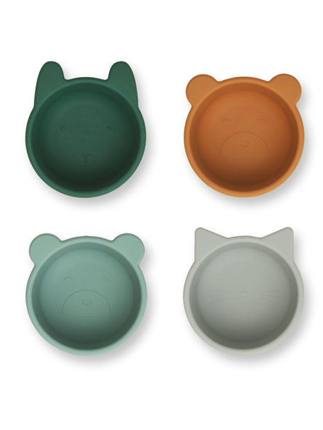 Liewood Silicone bowls green multi mix - 4 pack