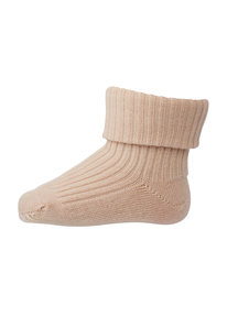 MP Denmark Wool Rib Turn Down Socks - Light Rose