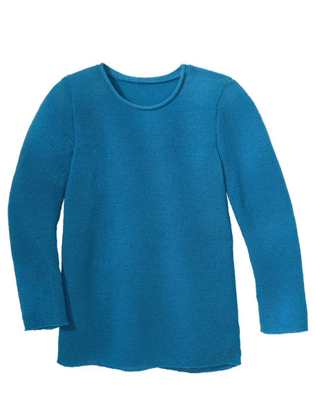 Disana Summer sweater left knitted - caribic blue