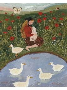 Boeken & Kaarten Tijana draws - foldable card Breastfeeding in Poppy Field