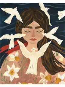 Boeken & Kaarten Tijana draws - foldable card Birdy Thoughts