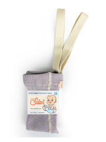 Silly Silas Footless Retro Ribbed Tights with Braces - Creamy Lavender