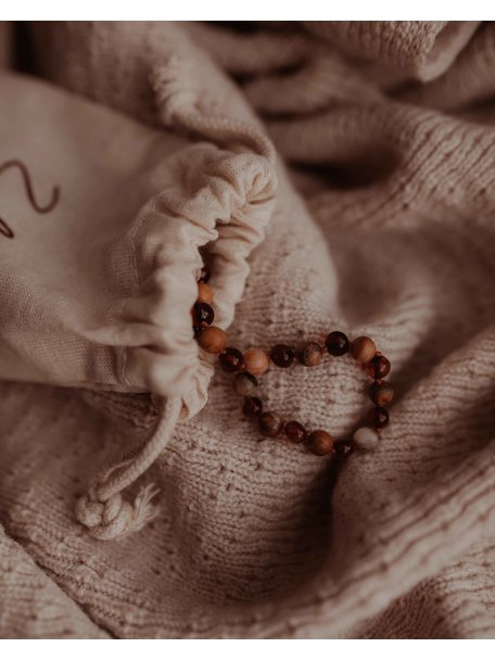 Amber Amber Ladies Bracelet with Gemstones 18 cm - Agate/Cognac