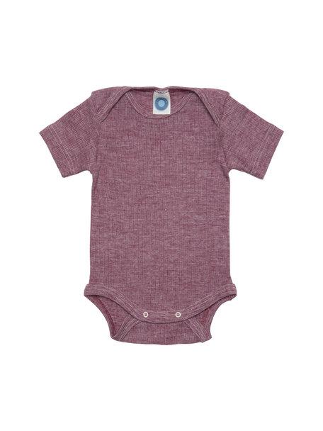 Cosilana Short Sleeved Baby Body Wool/Silk/Cotton - Burgundy