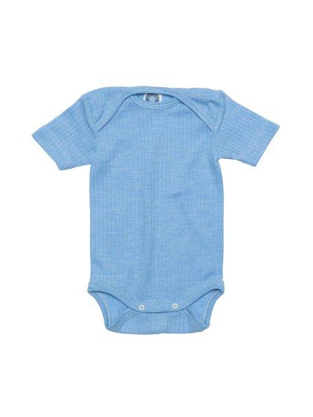 Cosilana Short Sleeved Baby Body Wool/Silk/Cotton - Blue