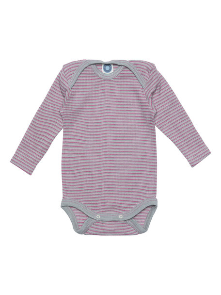 Cosilana Baby Body Wool/Silk/Cotton Striped - Grey/Pink