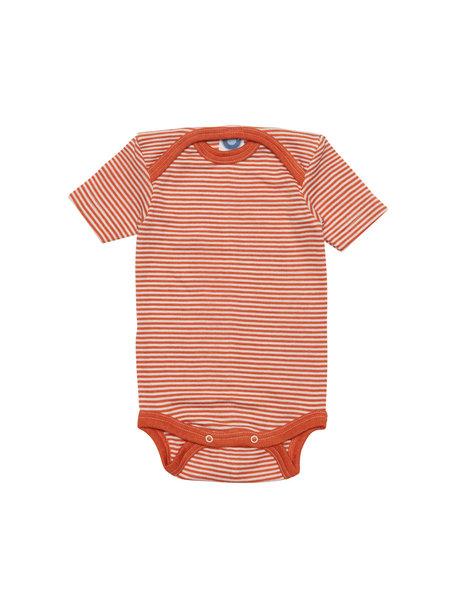 Cosilana Short Sleeve Baby Body Striped Wool/Silk - Orange