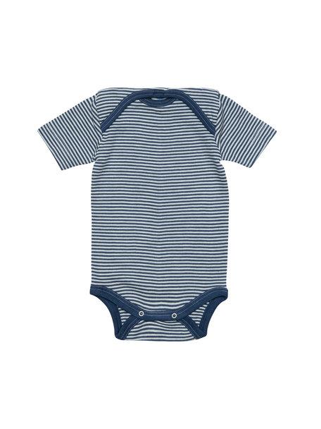 Cosilana Short Sleeve Baby Body Striped Wool/Silk - Blue