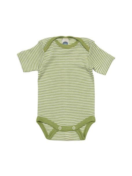 Cosilana Short Sleeve Baby Body Striped Wool/Silk - Green