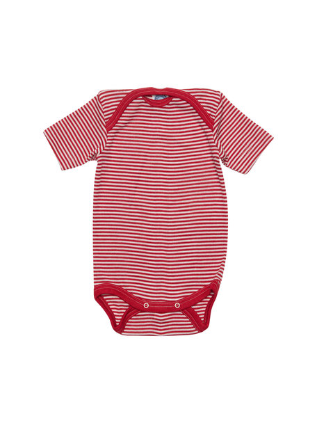 Cosilana Short Sleeve Baby Body Striped Wool/Silk - Red