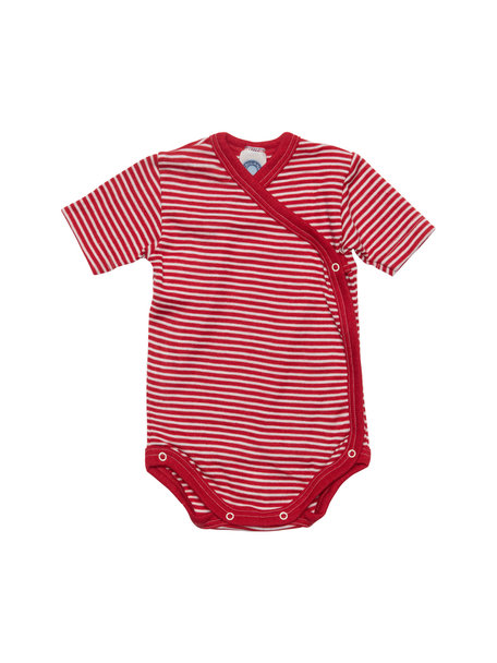 Cosilana Striped Wrap Body Short Sleeves Wool/Silk - Red