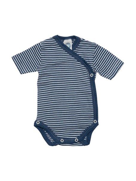 Cosilana Striped Wrap Body Short Sleeves Wool/Silk - Blue