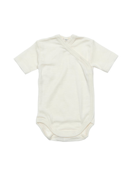 Cosilana Striped Wrap Body Short Sleeves Wool/Silk - Natural