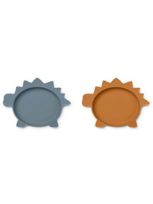 Liewood Silicone dishes dino - blue mustard - 2 pieces